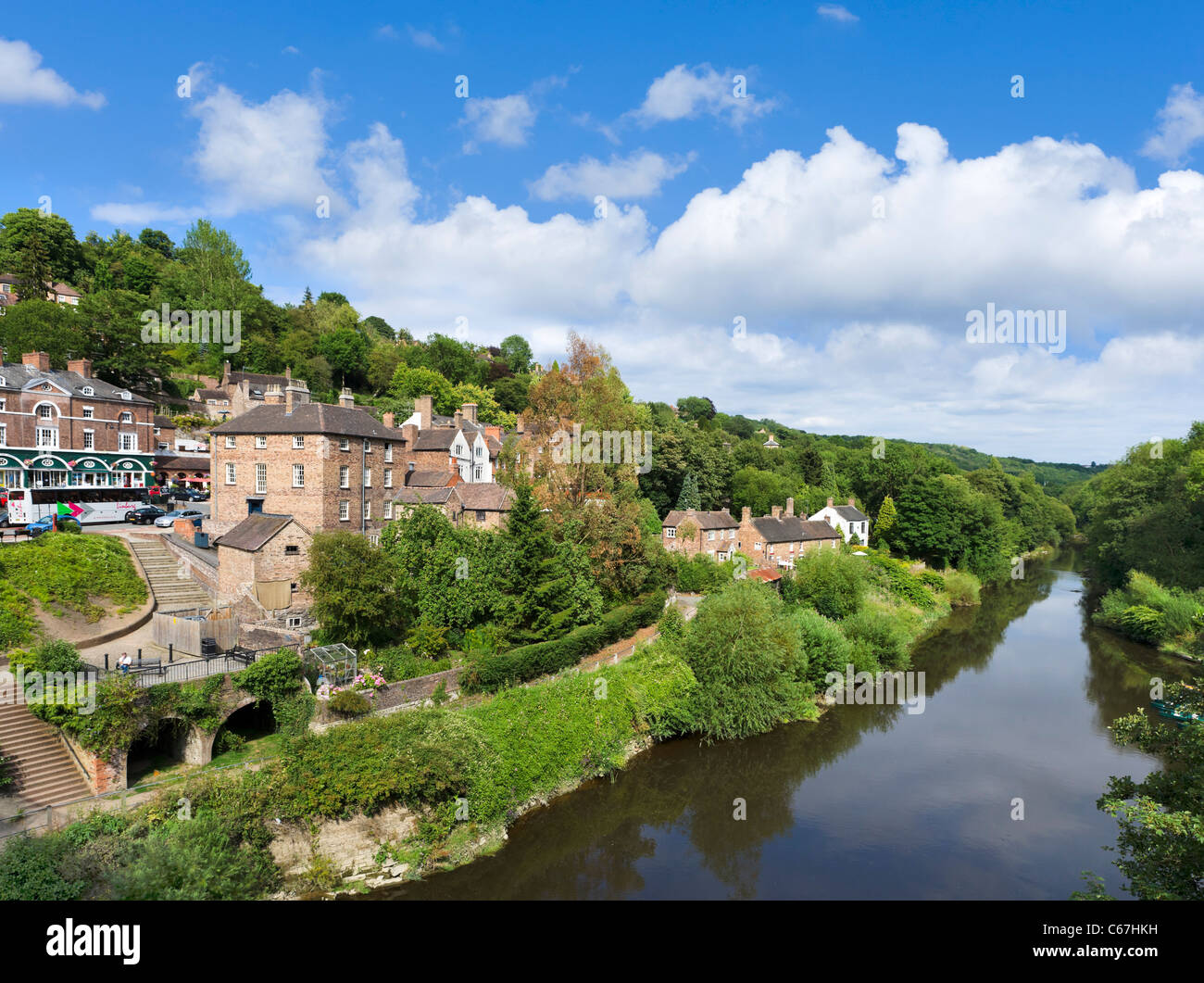 View over the River Severn from the Iron Bridge in the town of Ironbridge, Shropshire, England, UK - Stock Image