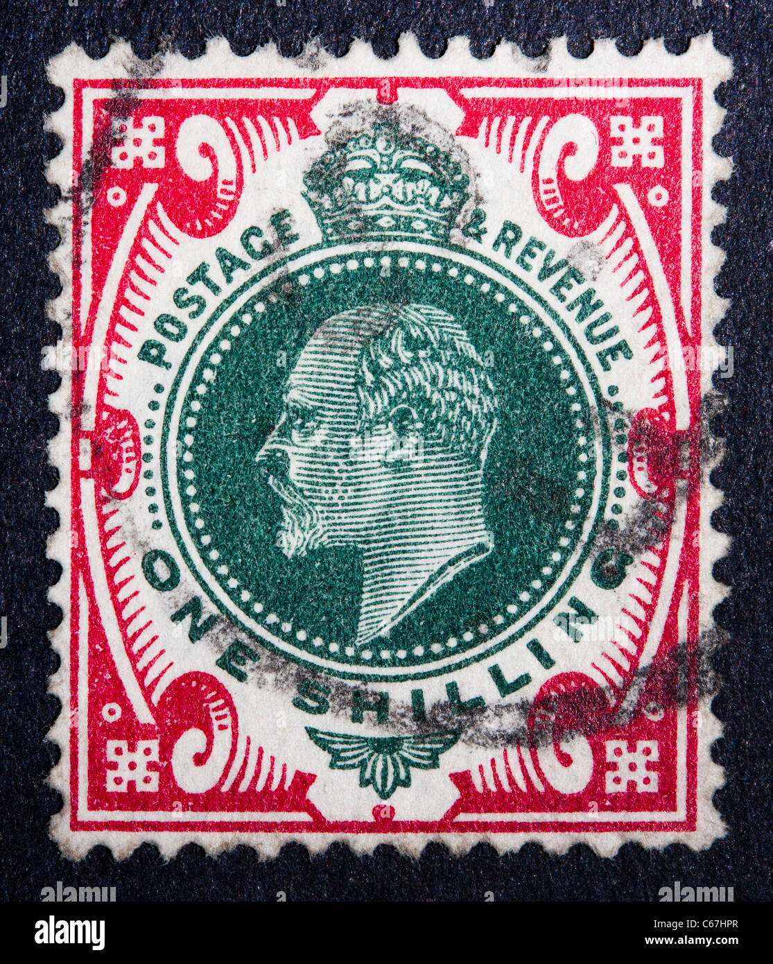 A postmarked 1s stamp from 1901, showing the profile of Edward the VII - Stock Image