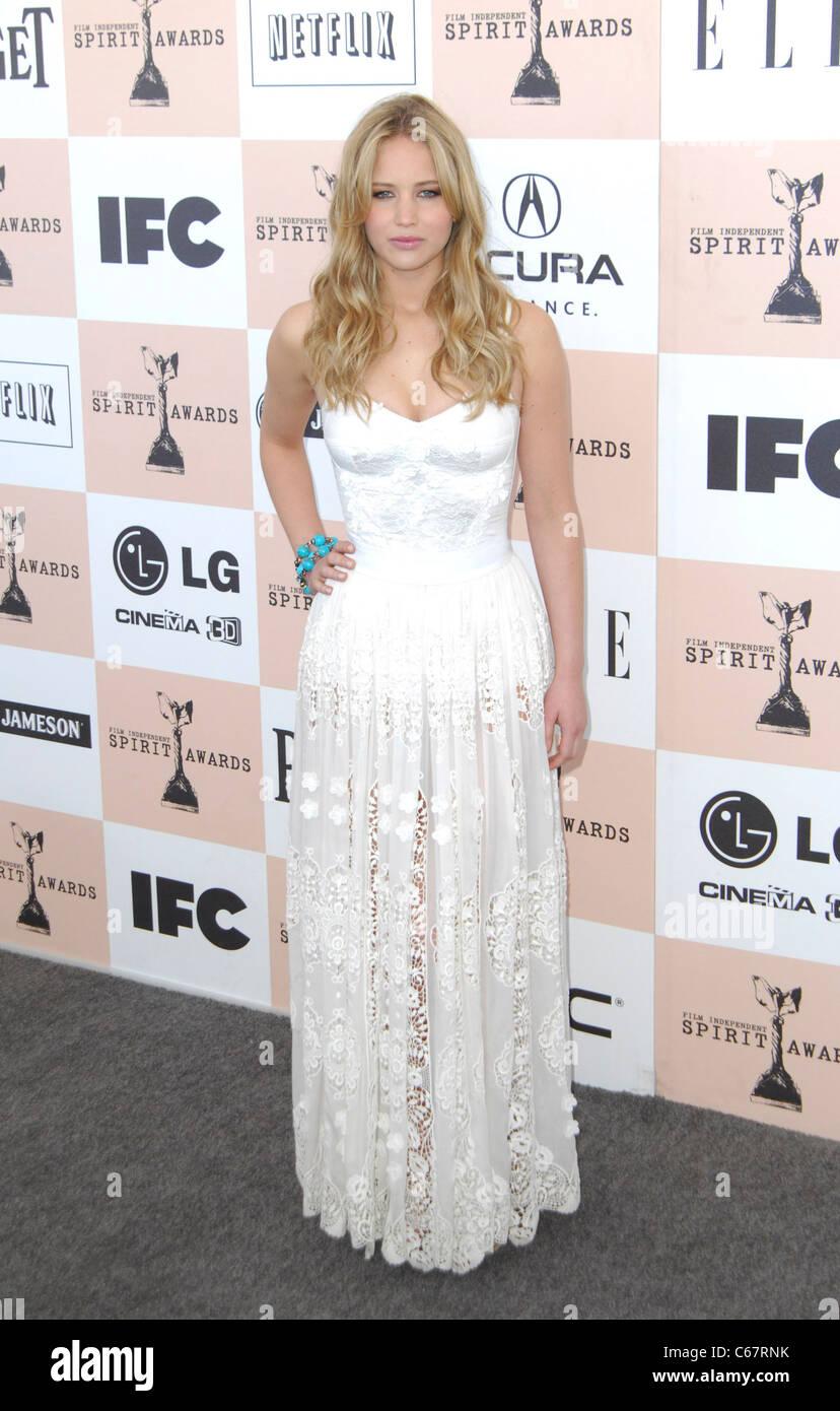 Jennifer Lawrence at arrivals for 2011 Film Independent Spirit Awards - Arrivals, on the beach, Santa Monica, CA - Stock Image