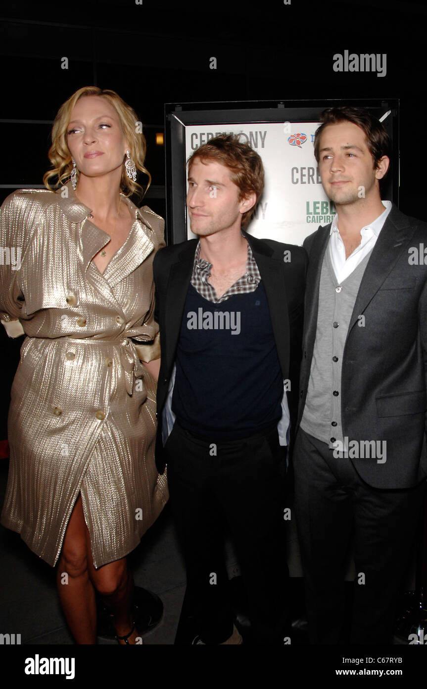 Uma Thurman, Max Winkler, Michael Angarano at arrivals for CEREMONY Premiere, Arclight Hollywood, Los Angeles, CA Stock Photo