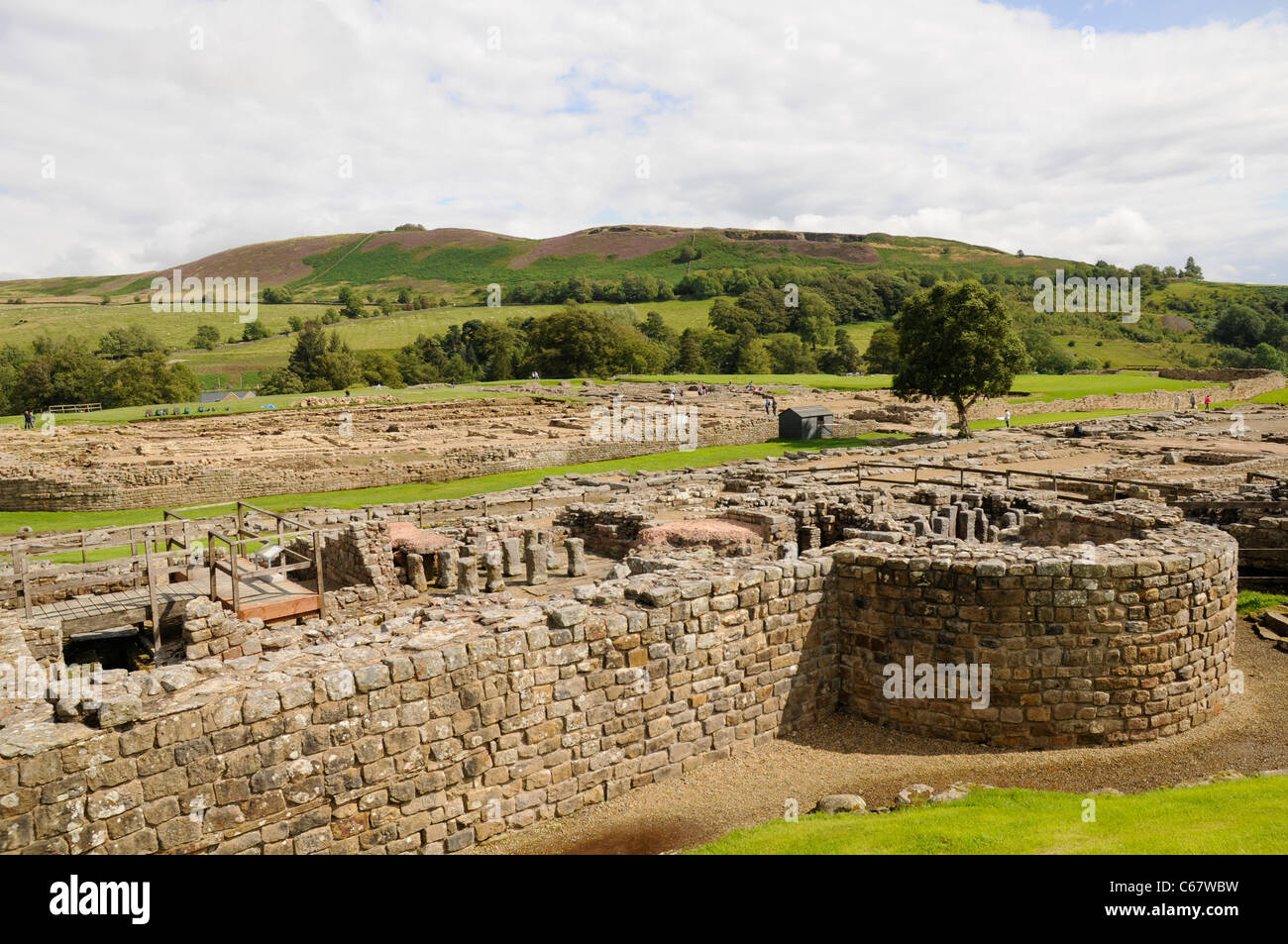 Military bathhouse, in the vicus (civilian town) just outside the Roman fort of Vindolanda, near Hadrian's Wall, - Stock Image