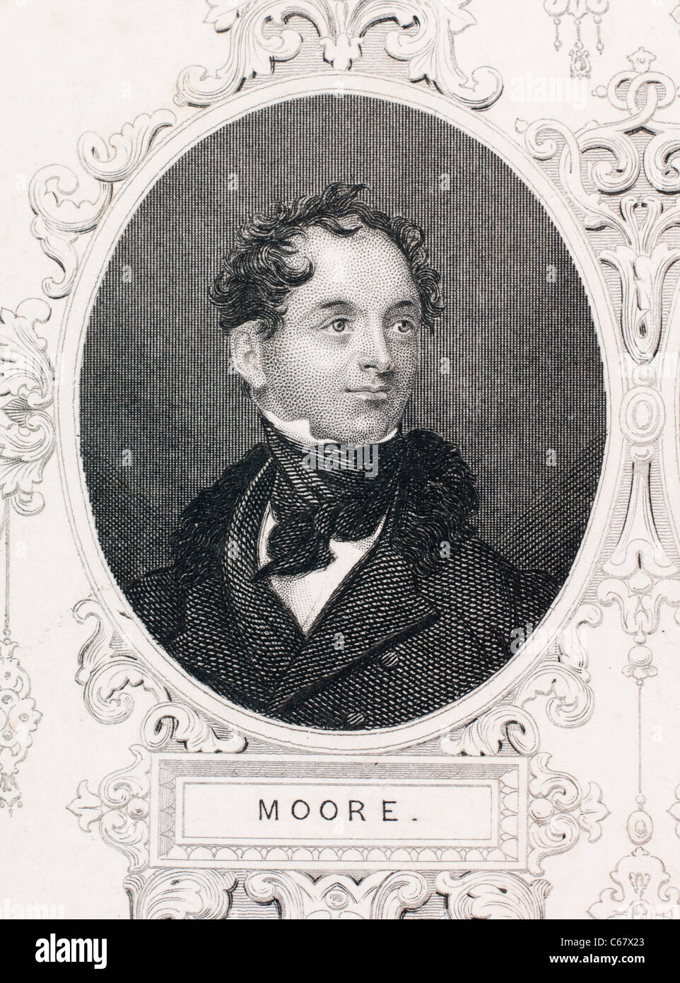 Thomas Moore, Irish poet and songwriter. 'The Last Rose of Summer' and other famous Irish songs around 1800 - Stock Image