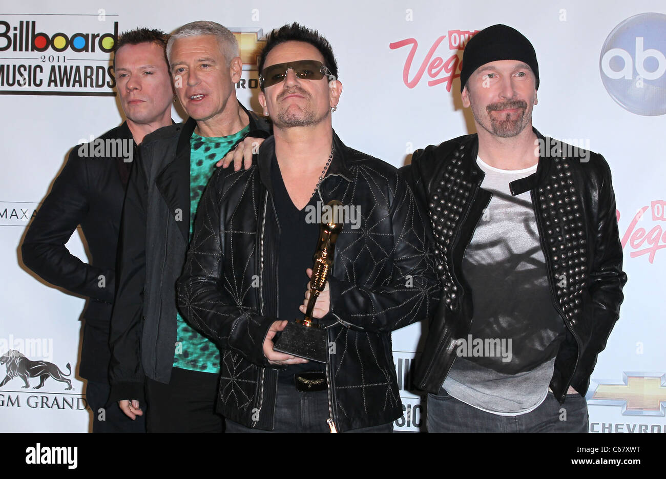 U2 in the press room for 2011 Billboard Music Awards- PRESS ROOM, MGM Grand Garden Arena, Las Vegas, NV May 22, - Stock Image