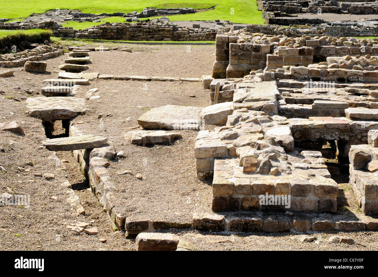 Roman drains, in the Roman fort of Vindolanda, near Hadrian's Wall, UK - Stock Image