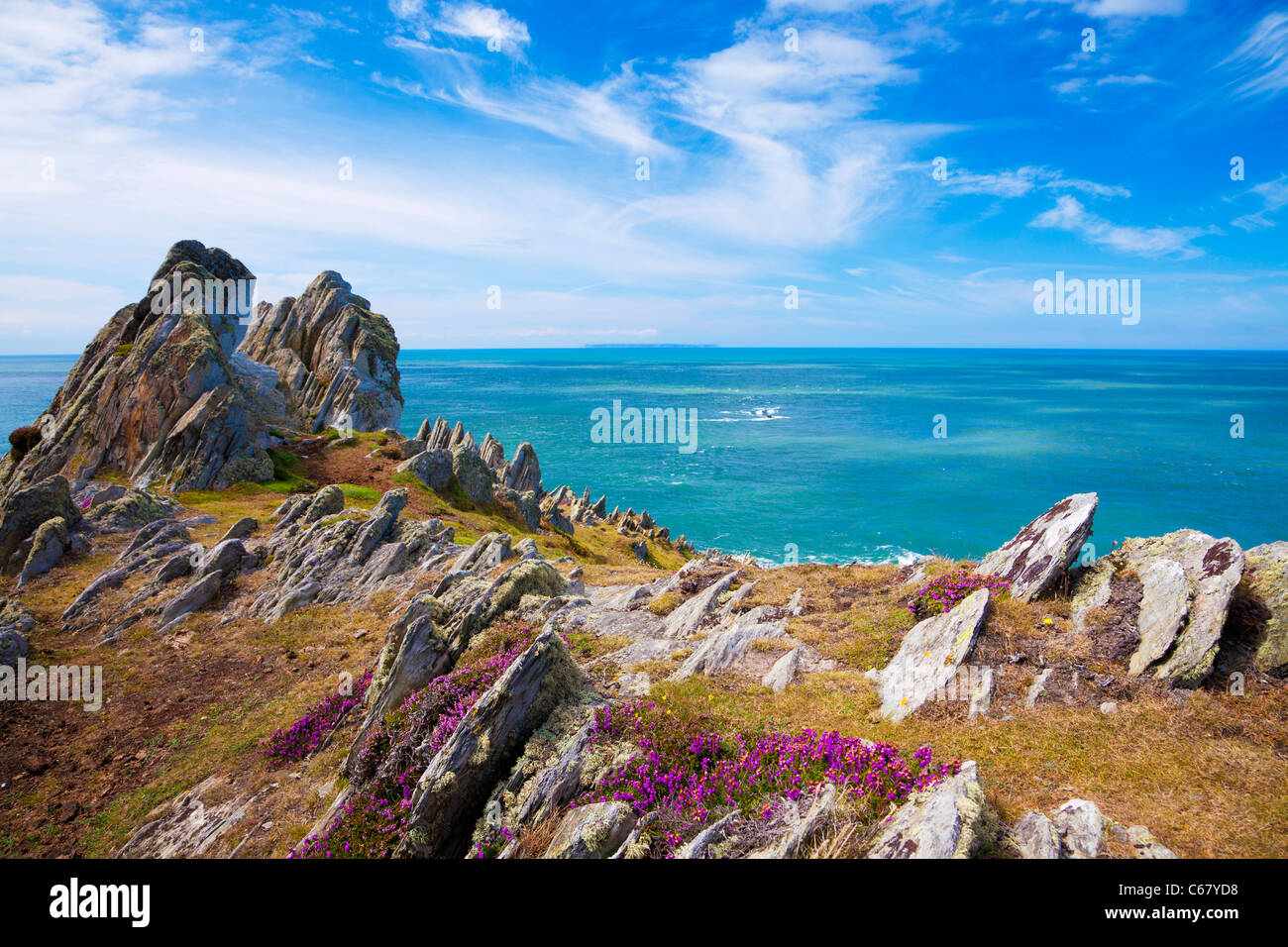 Morte Point near Morthoe, Woolacombe with a view over the Bristol Channel and Lundy Island, North Devon, England, - Stock Image