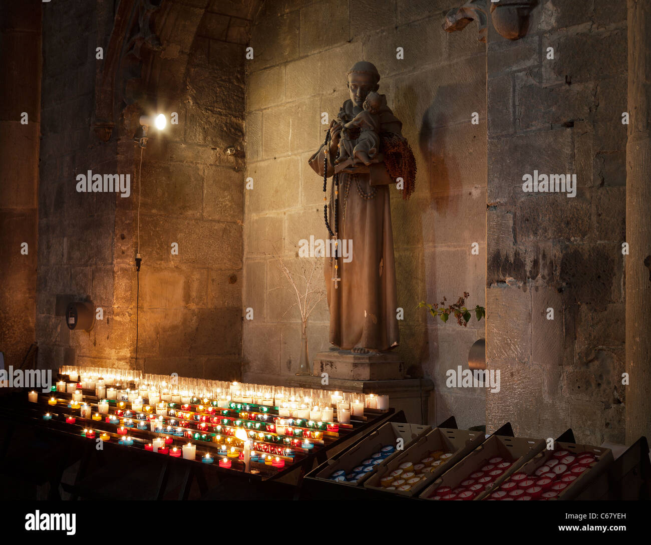 Interior of the Cathedral of St. Michel (Carcassonne,France) - Stock Image