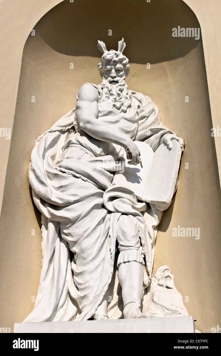 Statue of Moses, Saint Stanislaus Cathedral - Vilnius, Lithuania - Stock Image