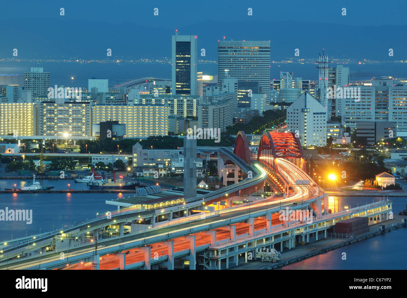 Port Island in Kobe, Japan. - Stock Image
