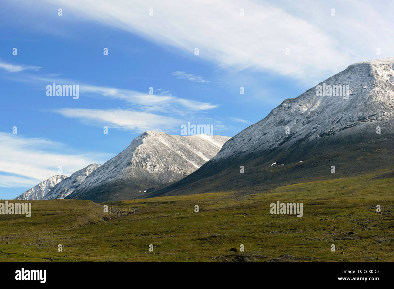 Lapland landscape along Kungsleden hiking path (The King's Trail) in northern Sweden - Stock Image