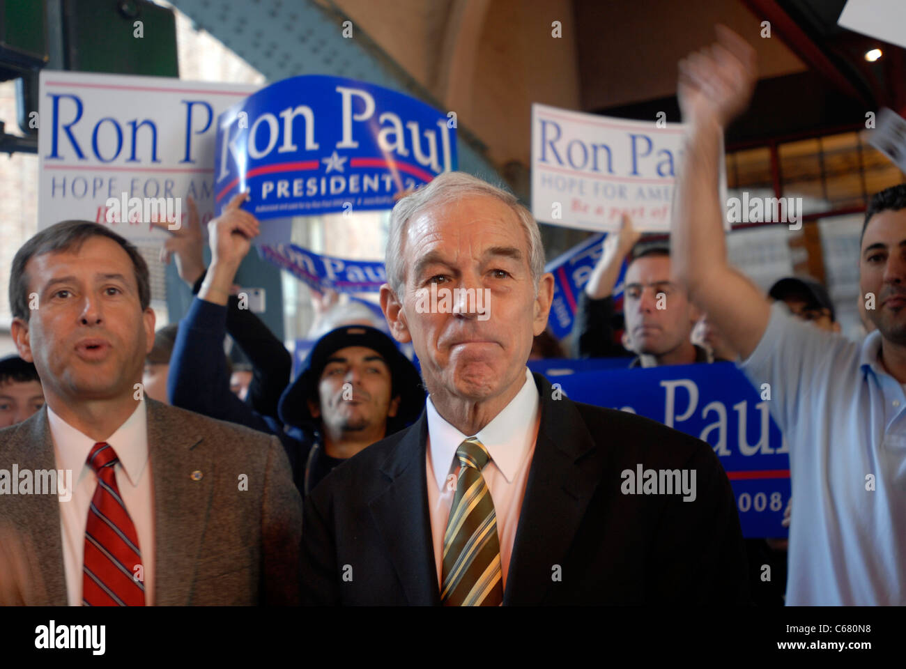 Republican presidential candidate Ron Paul greets supporters outside Grand Central Terminal - Stock Image