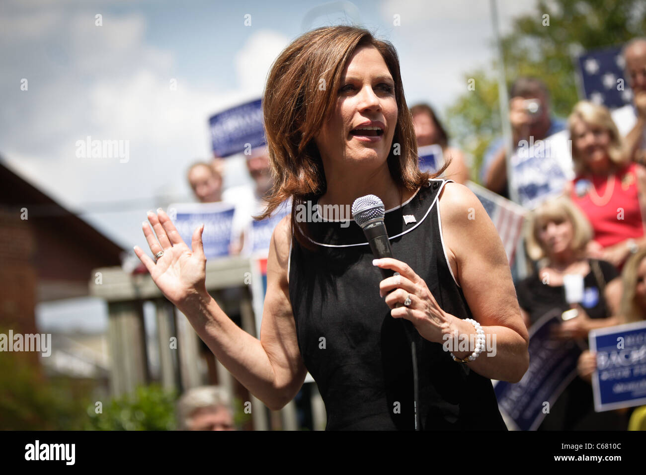 US Republican Presidential candidate Michelle Bachmann campaigns on August 18, 2011 in Columbia, South Carolina. - Stock Image