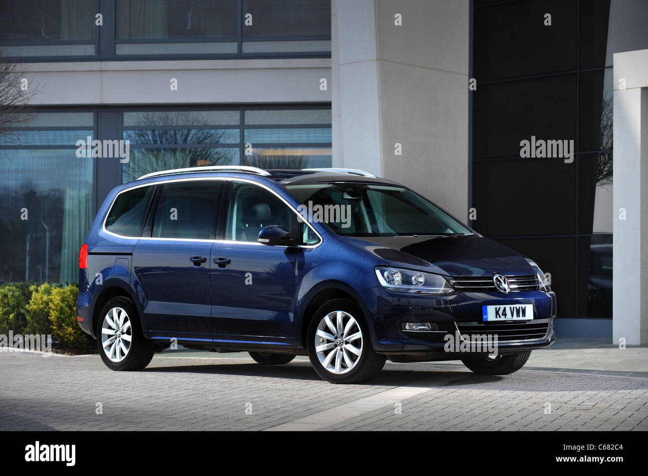 2011 new  shape VVW Volkswagen Sharan 2.0 litre TDI bluemotion UK car RHD - Stock Image