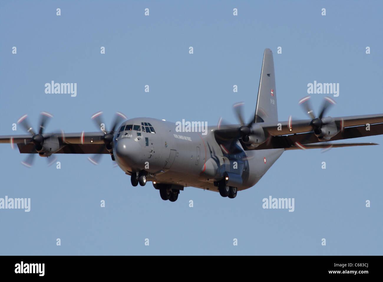 Royal Danish Air Force Lockheed Martin C-130J Hercules four-engine turboprop military transport plane. Close up - Stock Image