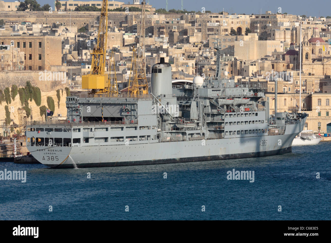 The Royal Navy Fleet Auxiliary supply ship RFA Fort Rosalie Stock Photo
