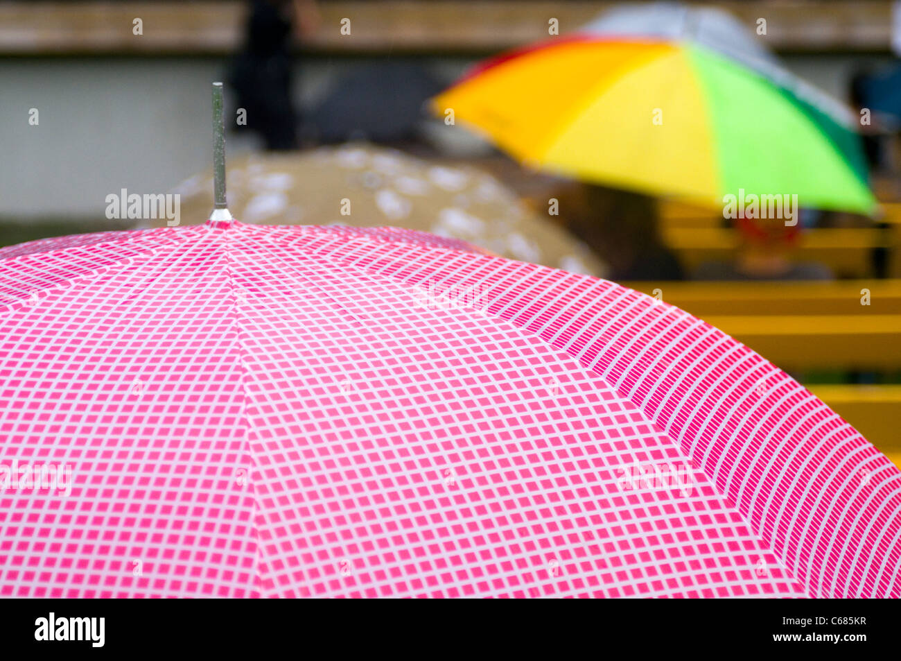 umbrellas umbrella umbrella's rain raining wet weather shower showers damp spitting water summer damp rainy - Stock Image