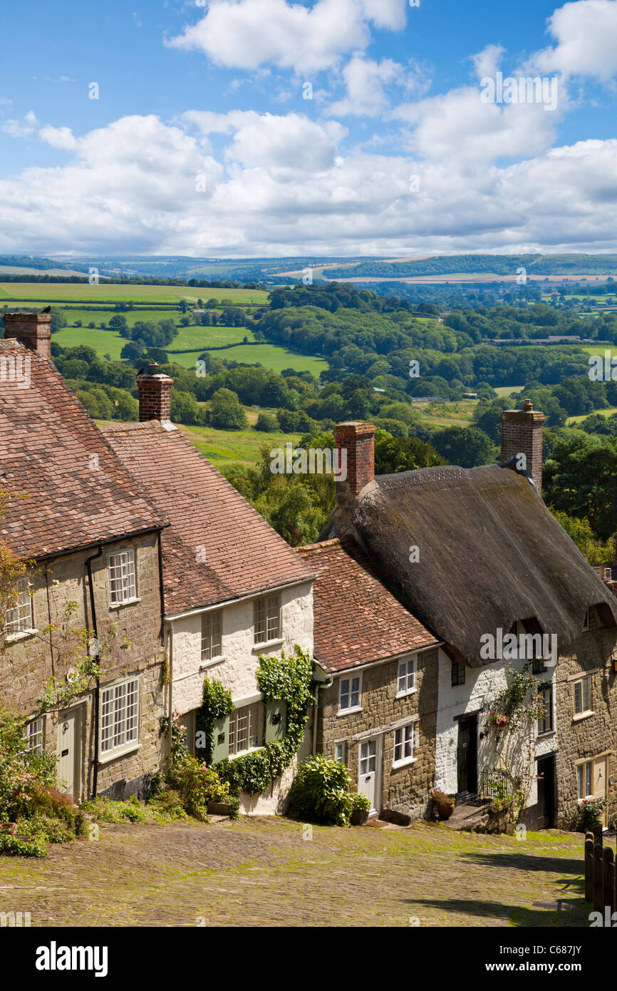 Gold Hill and view over Blackmore Vale Shaftesbury, Dorset, England  UK GB EU Europe - Stock Image