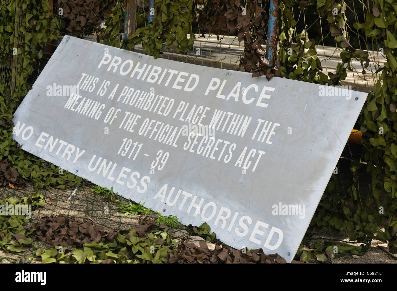 Sign Prohibited Place under the Official Secrets Act Stock Photo