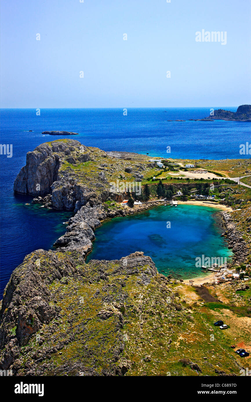 View of Agios Pavlos ('Saint Paul') beach, next to Lindos village, from the Acropolis of Lindos, Rhodes - Stock Image