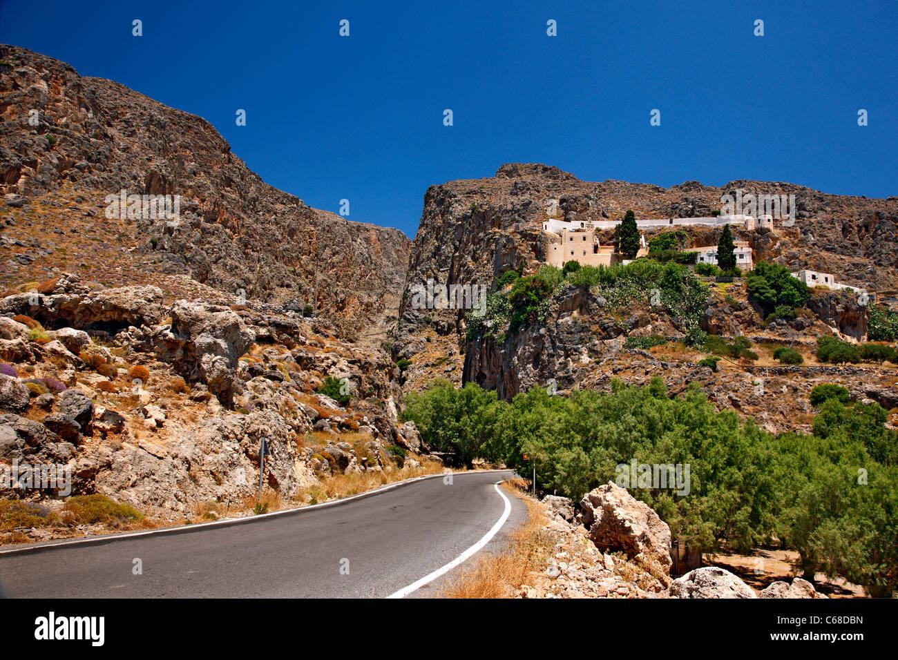 Agios Ioannis Kapsas (or 'Kapsa') 'castlelike' monastery, at the exit of Pervolakia gorge, Lasithi, - Stock Image