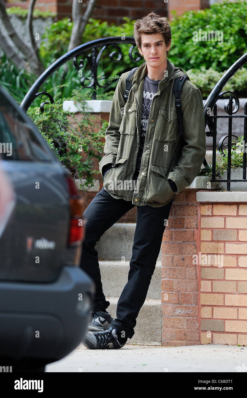 Andrew Garfield, films a scene at the AMAZING SPIDER-MAN movie set in Windsor Terrace out and about for CELEBRITY Stock Photo