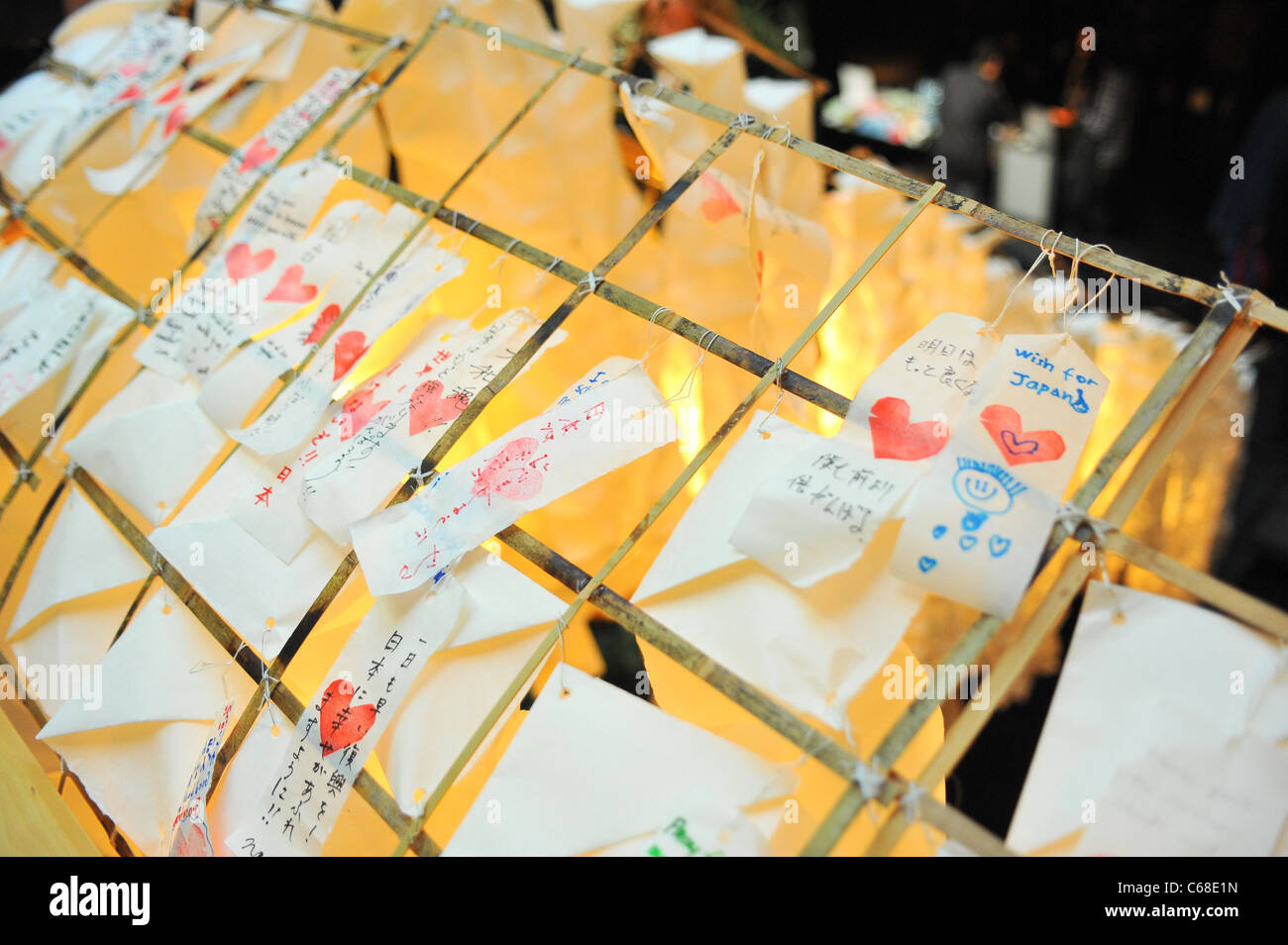 Wishes placed on Prayer Lanters in attendance for Concert for Japan, The Japan Society, New York, NY April 9, 2011. - Stock Image