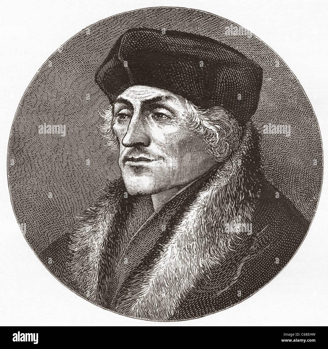 Desiderius Erasmus Roterodamus, 1466 - 1536, aka Erasmus of Rotterdam. Dutch Renaissance humanist, Catholic priest - Stock Image