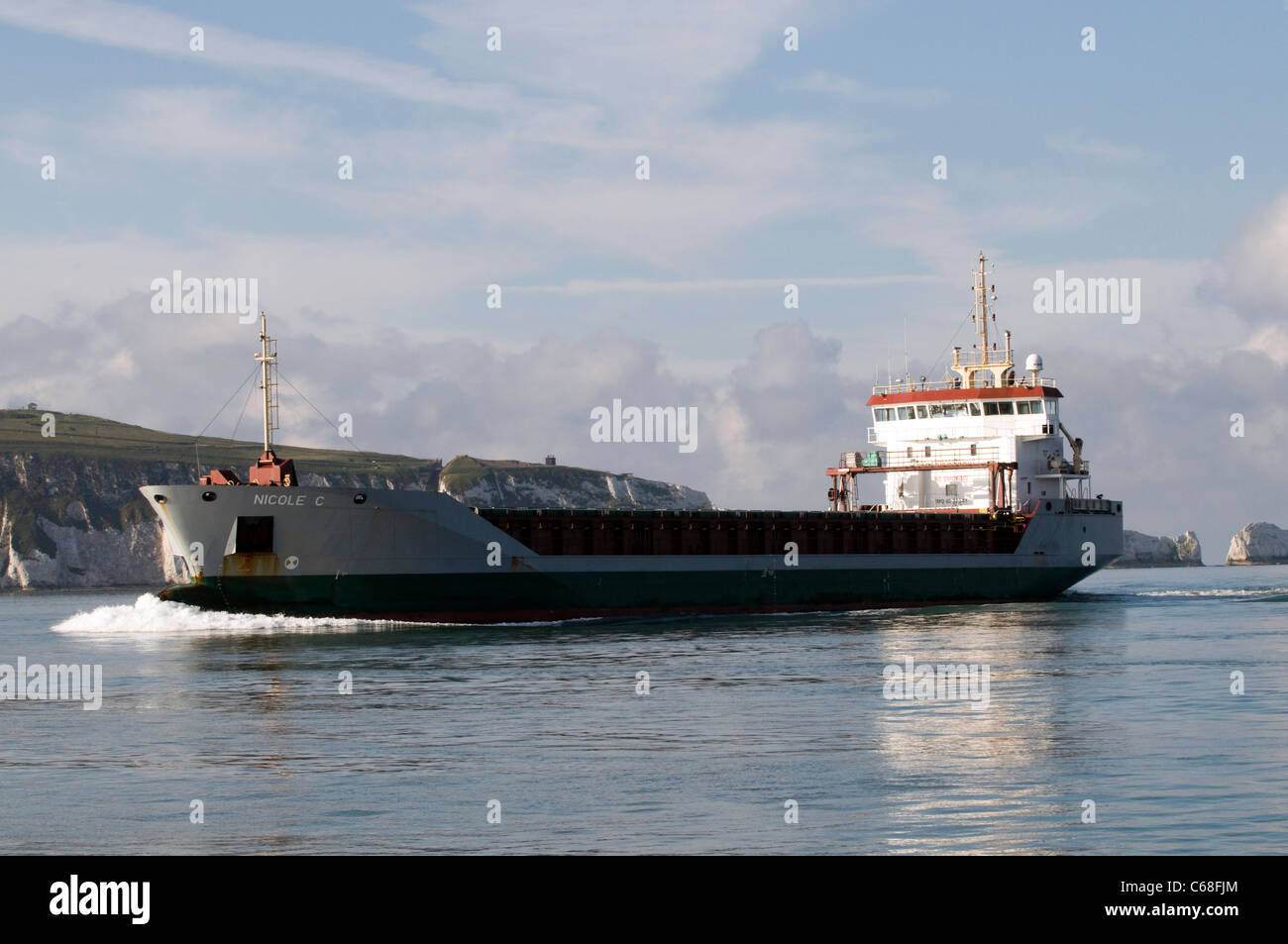 General cargo ship Nicole C off the Needles Isle of Wight - Stock Image