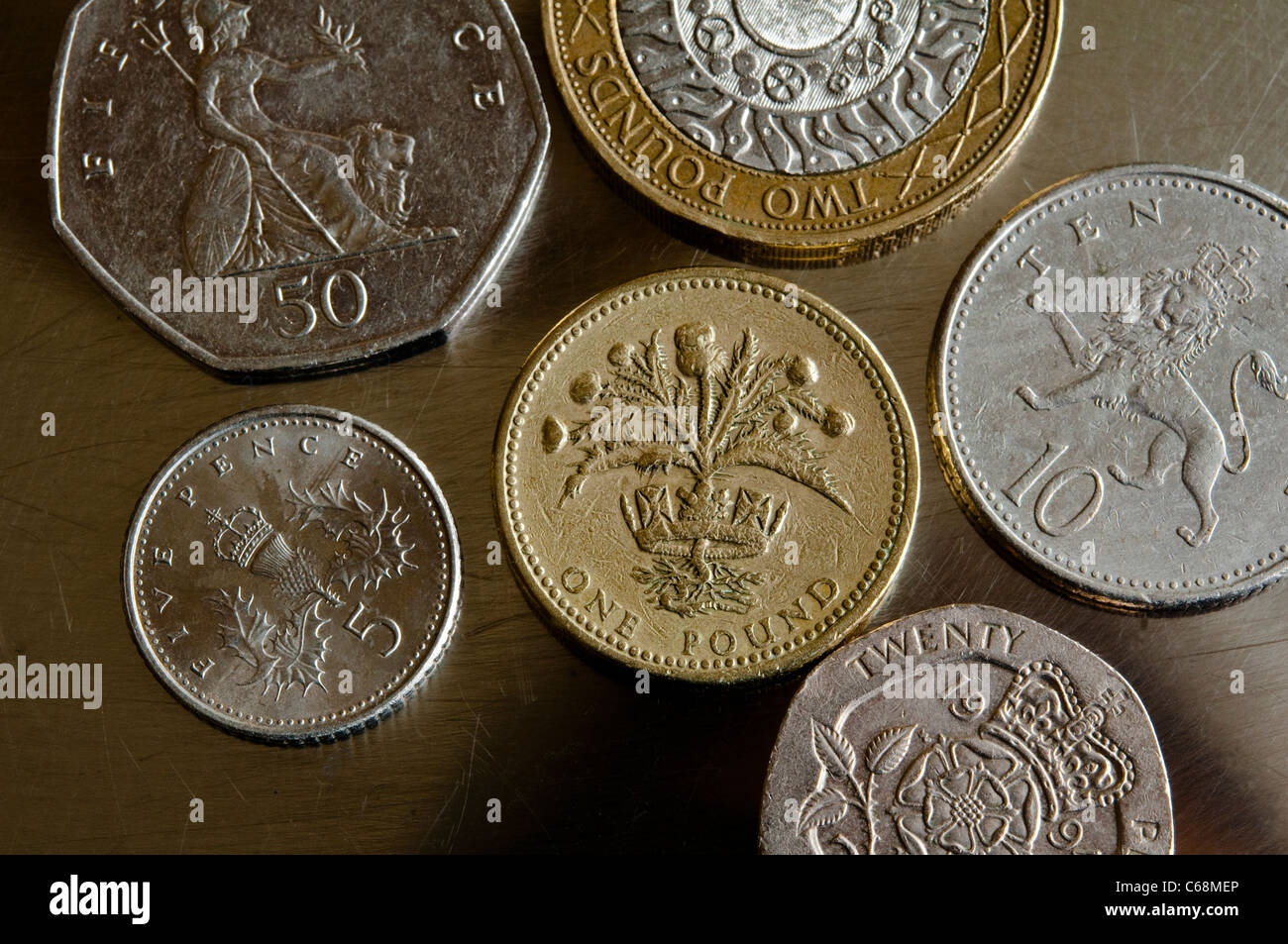 UK coins / money - Scottish £1 pound, £2 pounds, 50p, 10p and 5 pence coin - close up view. - Stock Image