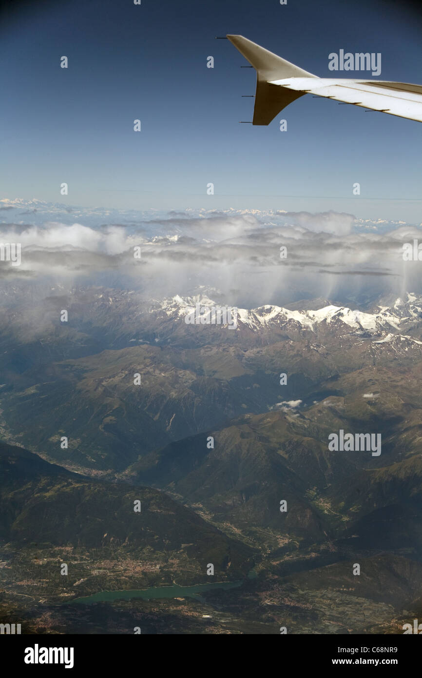 The view from the airplane window. Alps, Italy. - Stock Image