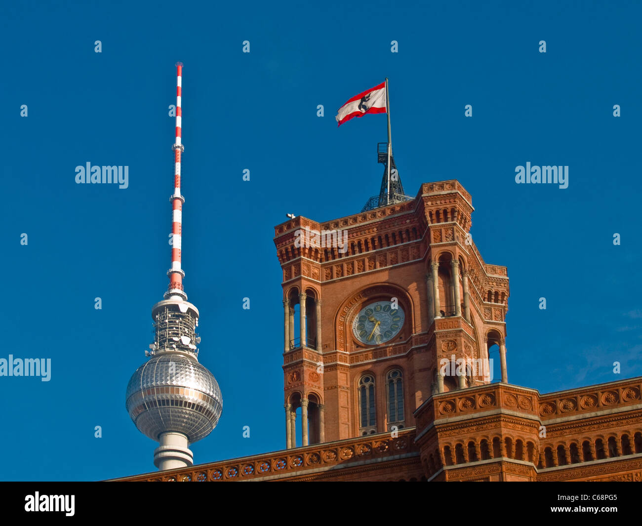 Red City Hall building and television tower, Berlin, Europe, Germany - Stock Image