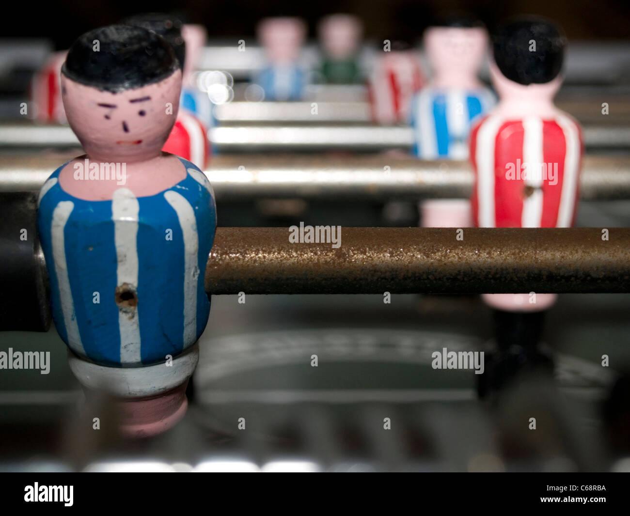 Detailaufnahme eines Tischfußballfeldes | Detail photo of a table soccer field - Stock Image