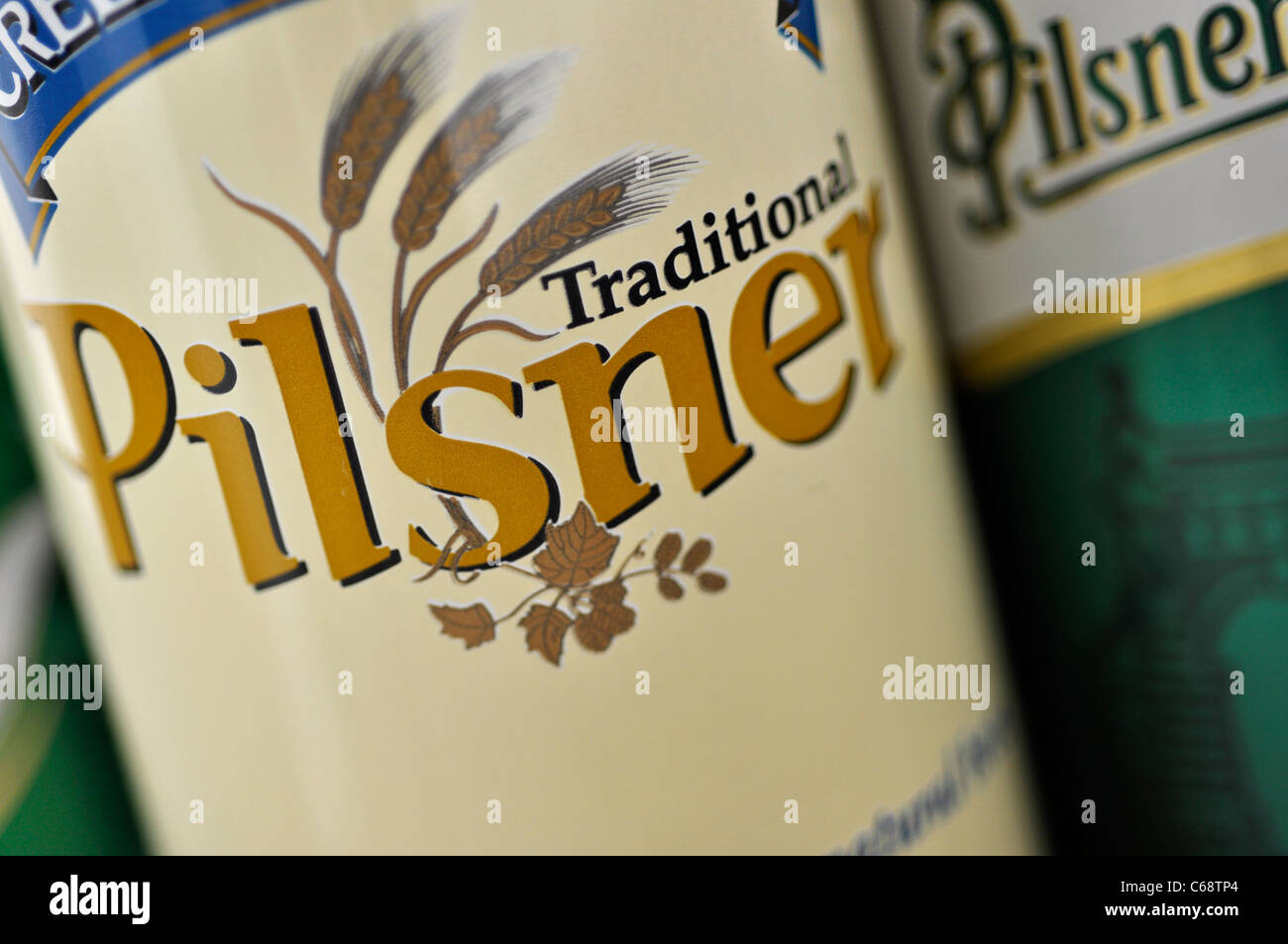 Beer Cans Closeup, Pilsner Traditional Canadian Brewed - Stock Image