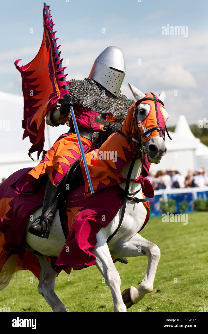 Justin Pearson and the Knights of the Damned,  A display toournament with horse, knight, joust, medieval, horseback, - Stock Image