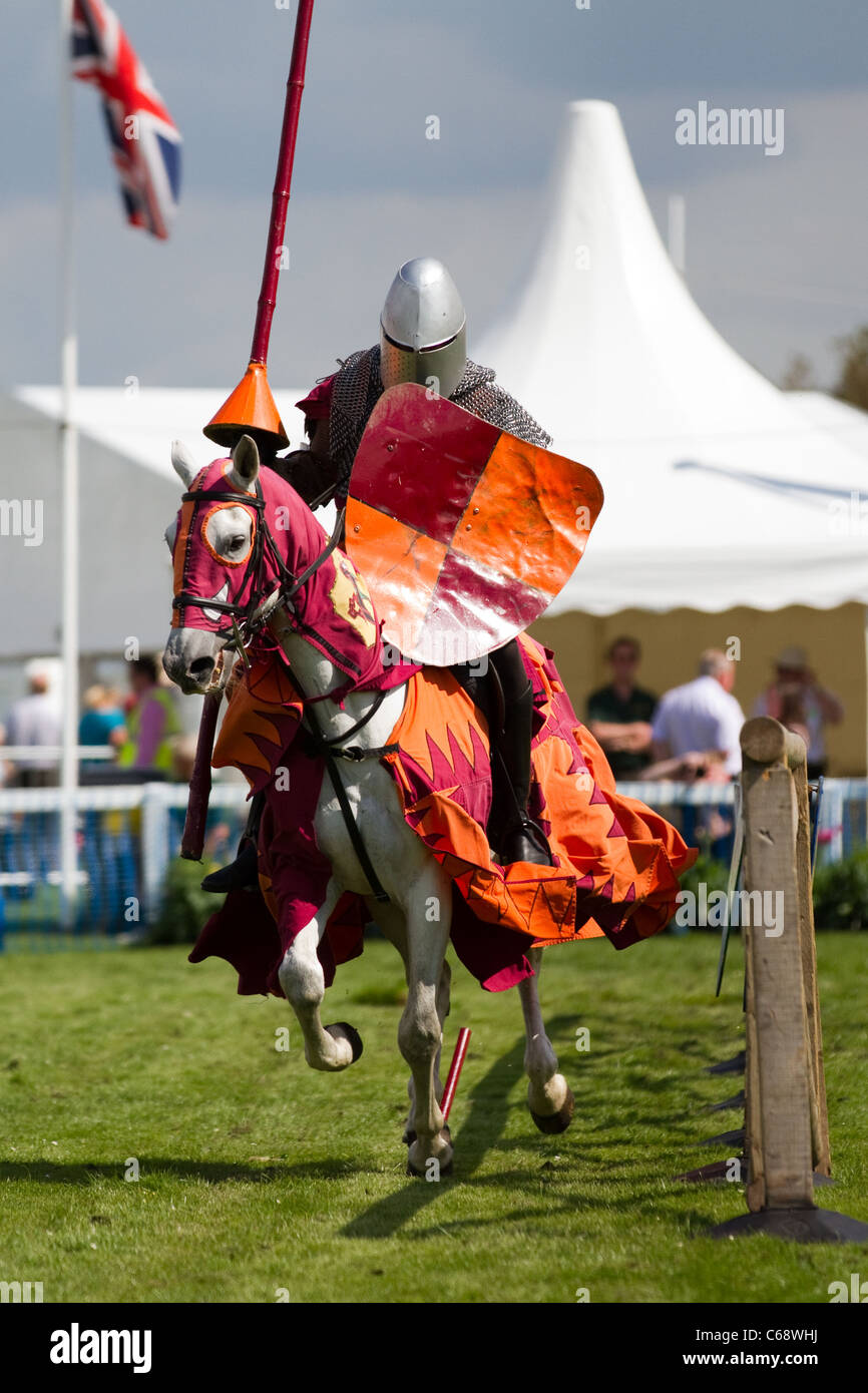 TV & film stuntman, JUSTIN PEARSON, performing with the spectacular Knights of the Damned jousting medieval - Stock Image