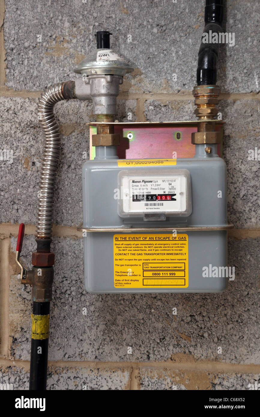 A modern household gas meter, fitted 2006. - Stock Image