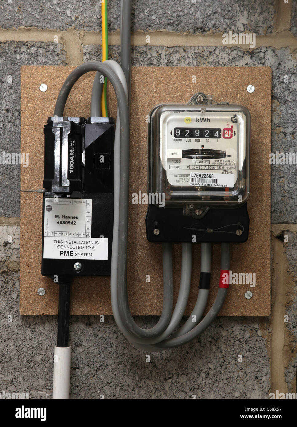 A modern electricity meter or consumer unit, fitted 2006. Stock Photo