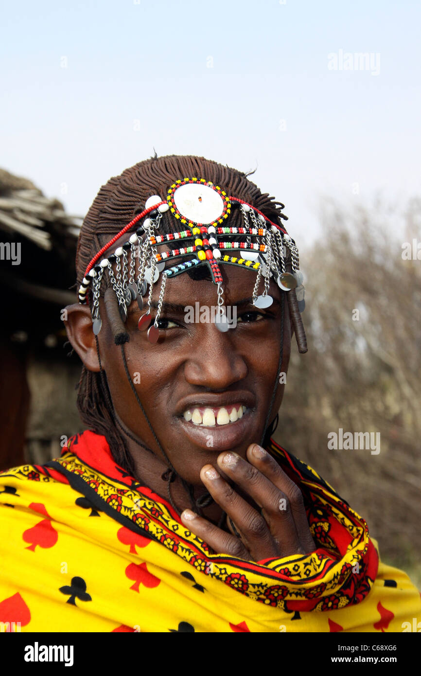 Kenya, Masai Mara, Masai (Also Maasai) Tribesmen an ethnic group of semi-nomadic people. Warriors with traditional - Stock Image