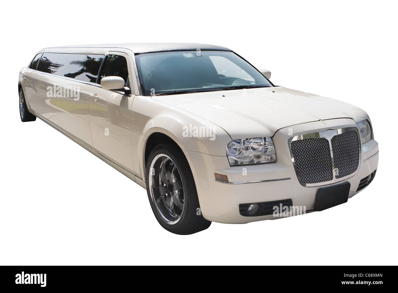 A white limousine without any background - Stock Image