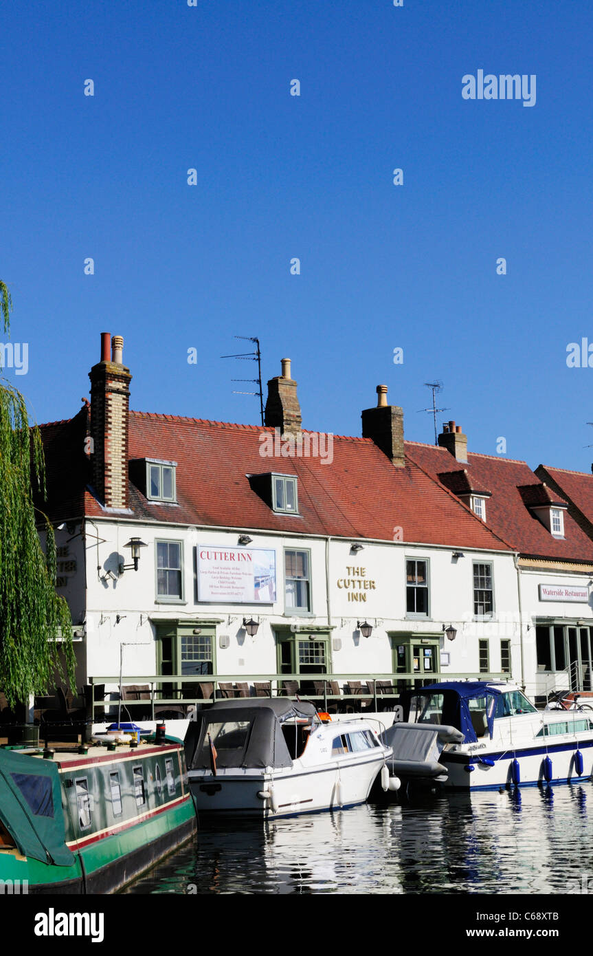 The Cutter Inn by the River Great Ouse, Ely, Cambridgeshire, UK - Stock Image