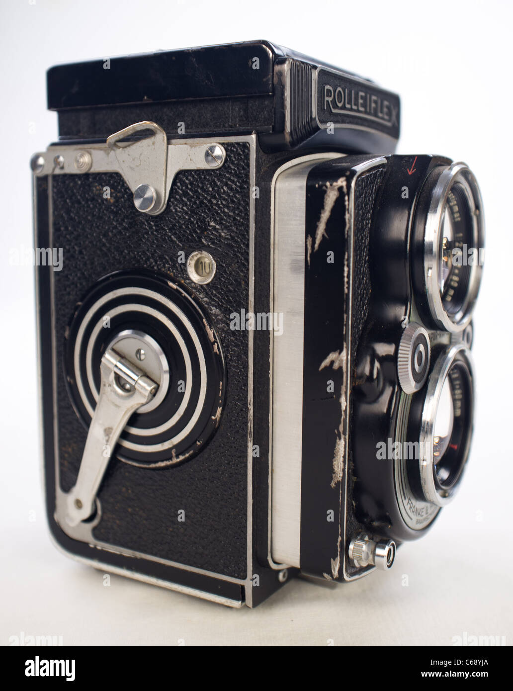 Well Used Professional Rolleiflex TLR Camera 1950's German Medium Format  Franke & Heidecke ROLLEI ZEISS - Stock Image