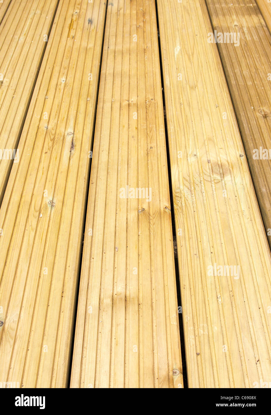 Softwood Garden Patio Decking - Stock Image