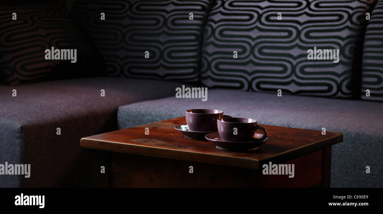Nice photo of table with two cups - Stock Image