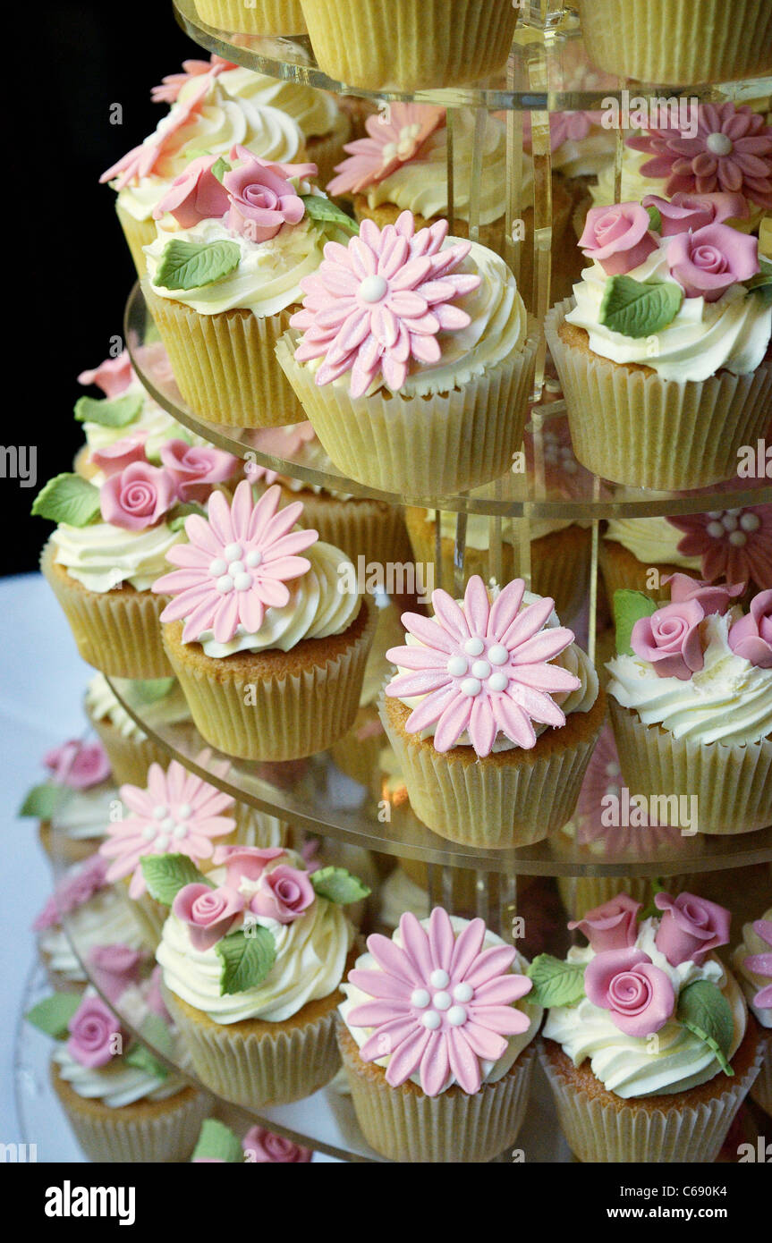 Wedding Cake Made From A Stack Of Cup Cakes Cupcakes