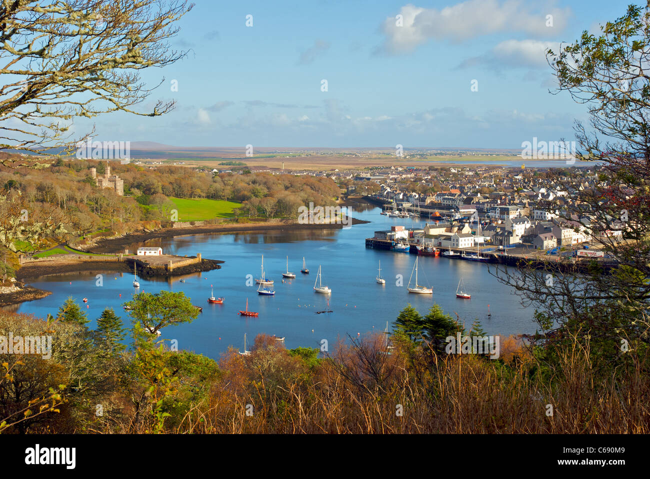Stornoway Harbour on the Isle of Lewis in the Western Isles of Scotland - Stock Image