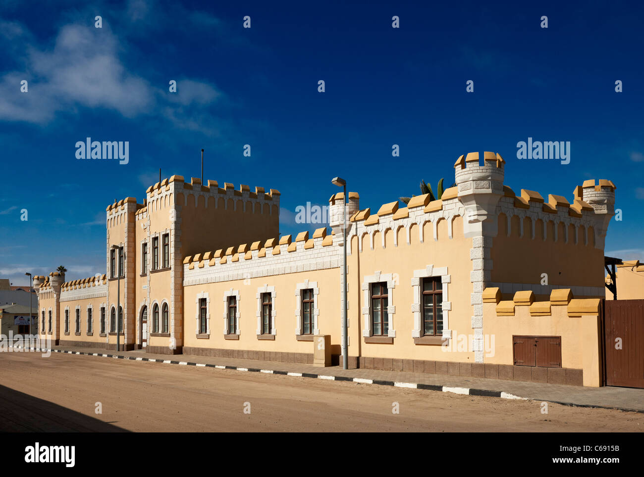 historical German barracks from colonial times, now youth hostel, Swakopmund, Namibia, Africa Stock Photo
