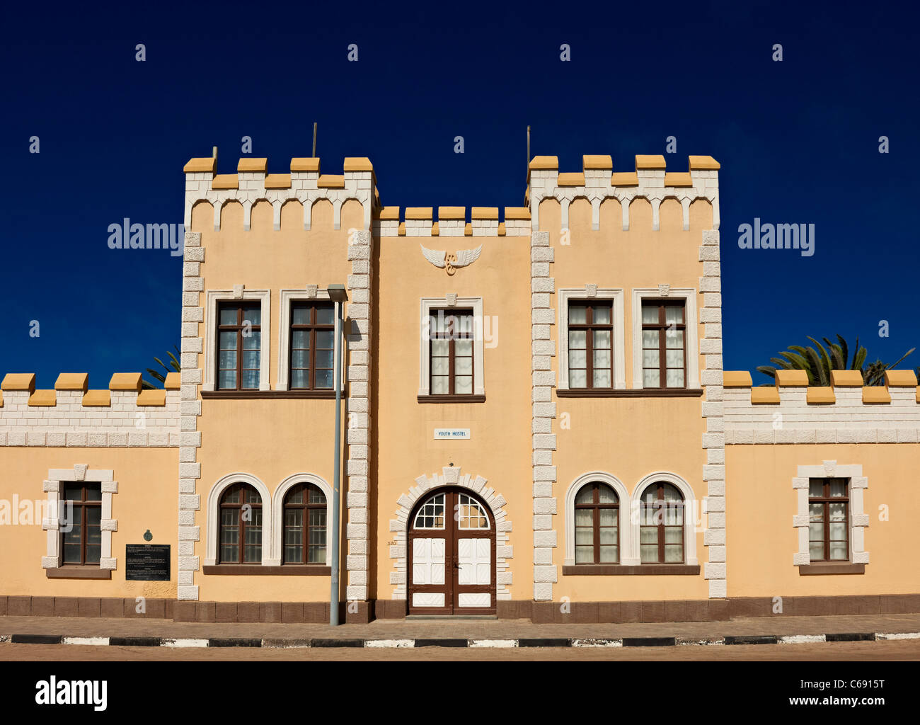 historical German barracks from colonial times, now youth hostel, Swakopmund, Namibia, Africa - Stock Image