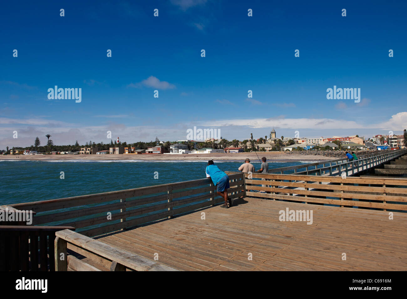 jetty at beach of Swakopmund, Namibia, Africa - Stock Image