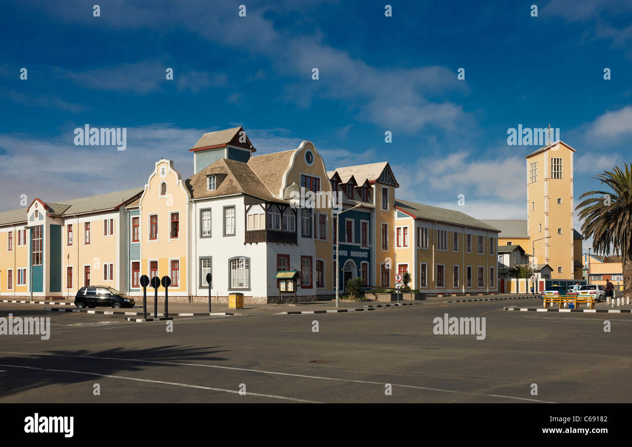 colorful historical building from German colonial period, Swakopmund, Namibia, Africa - Stock Image