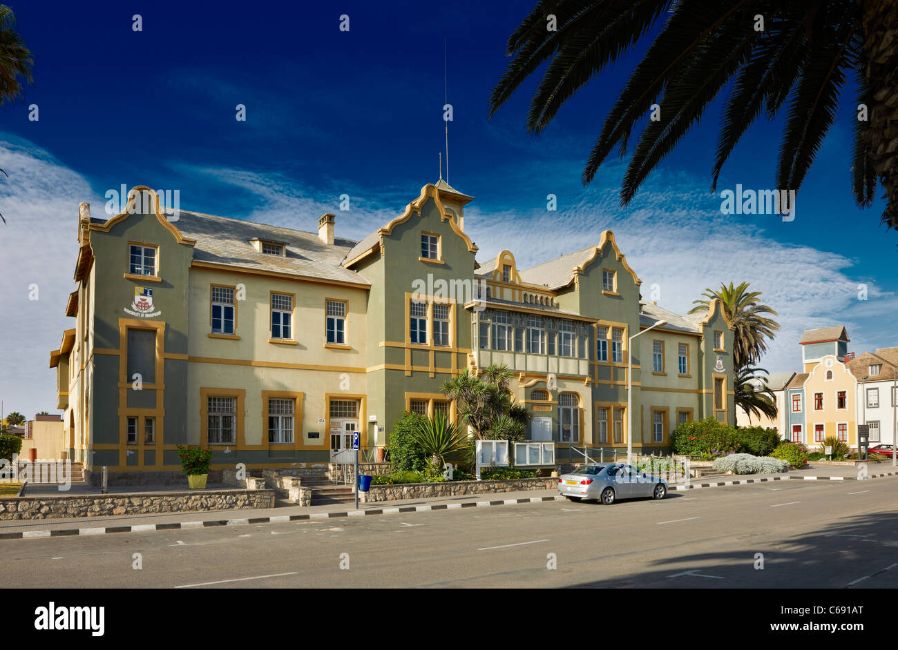 historical German colonial building, old post now municipal office, Swakopmund, Namibia, Africa - Stock Image