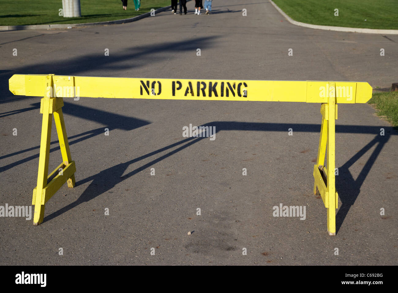 no parking temporary road barrier Saskatoon Saskatchewan Canada - Stock Image